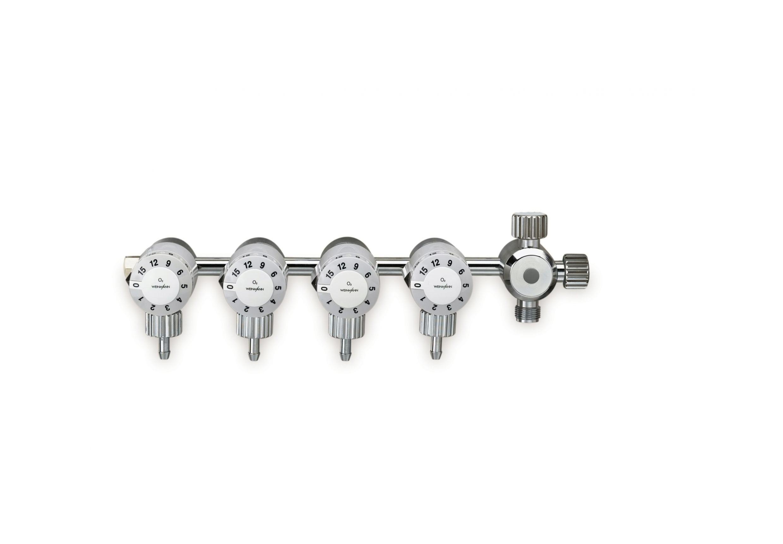 OXYWAY Click  Verteilerleiste mit 4 rastend einstellbaren  Abgängen und Multiport  Abgang:  4x UNF 9/16 Außengewinde, 0-15 l/min,