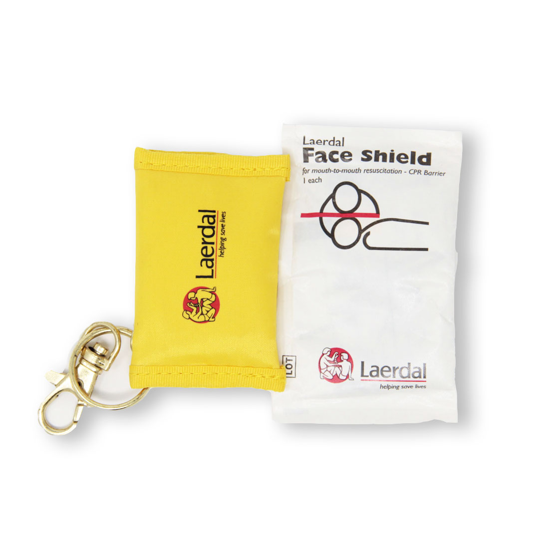 Beatmungstuch im Schlüsselanhänger in gelb - Laerdal-Logo