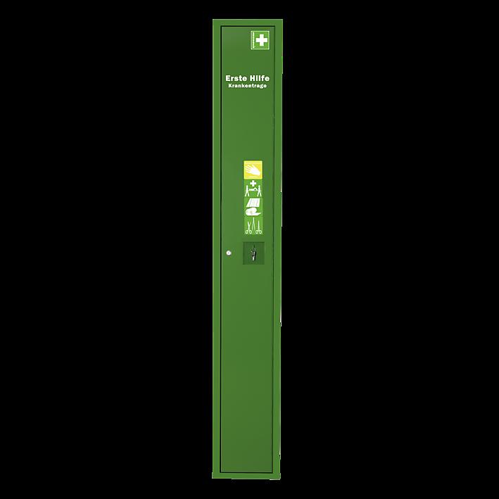 Stehschrank Erste-Hilfe-Trage gefüllt grün