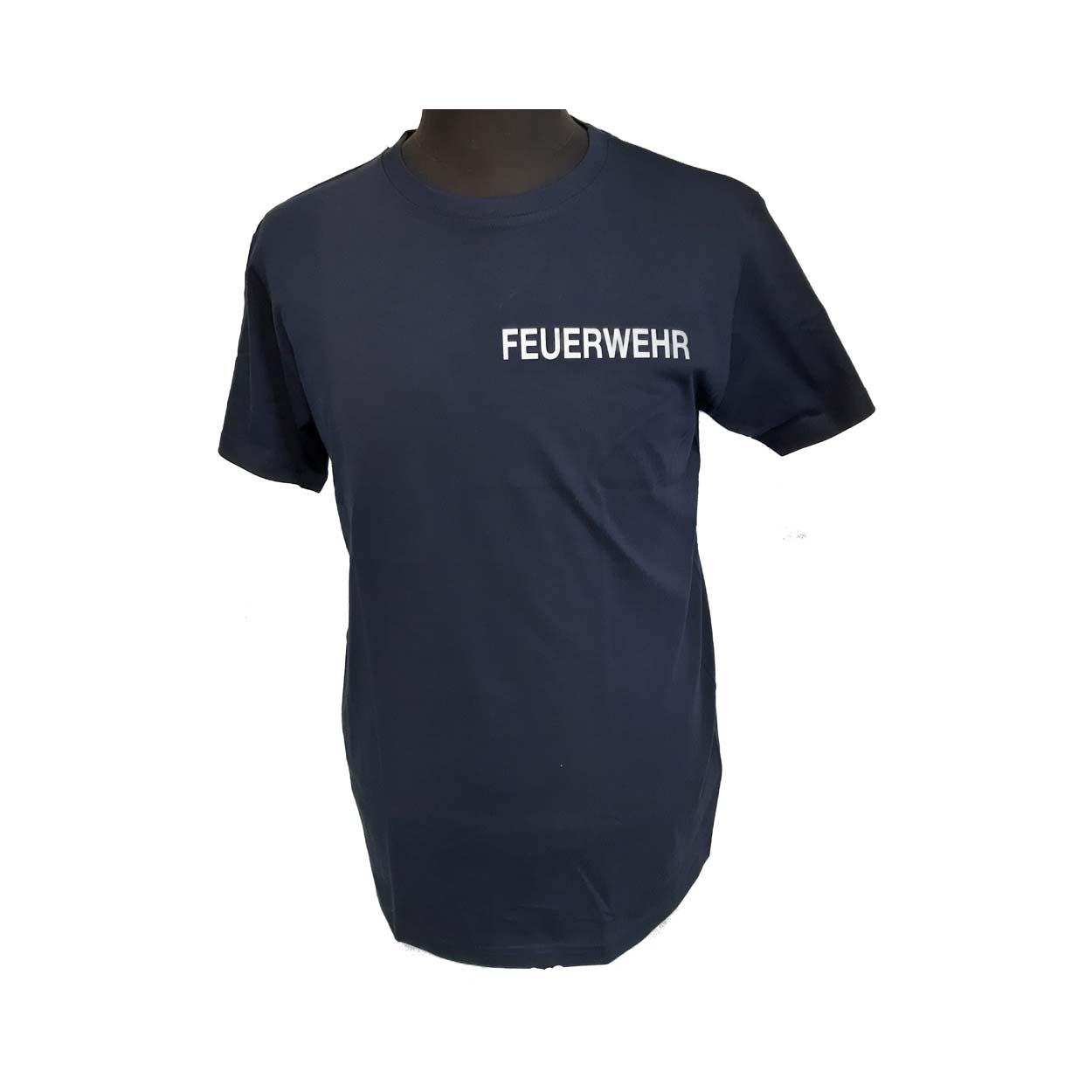 """T-Shirt blau """"FEUERWEHR"""" reflektierend"""