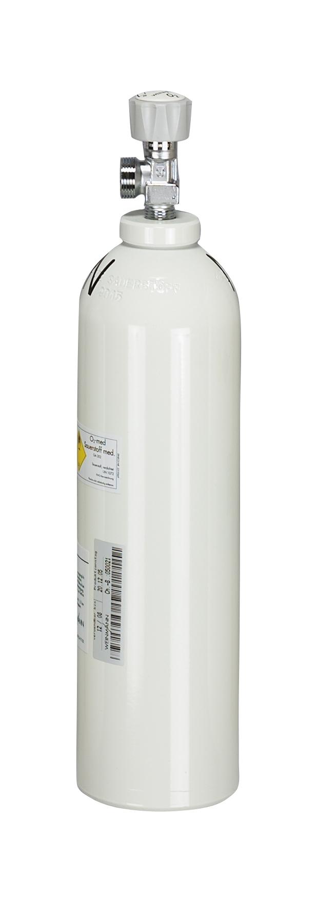 Sauerstoff-Leichtflasche, leer, G 3/4,  Aluminum, max. Fülldruck 200 bar, 2l