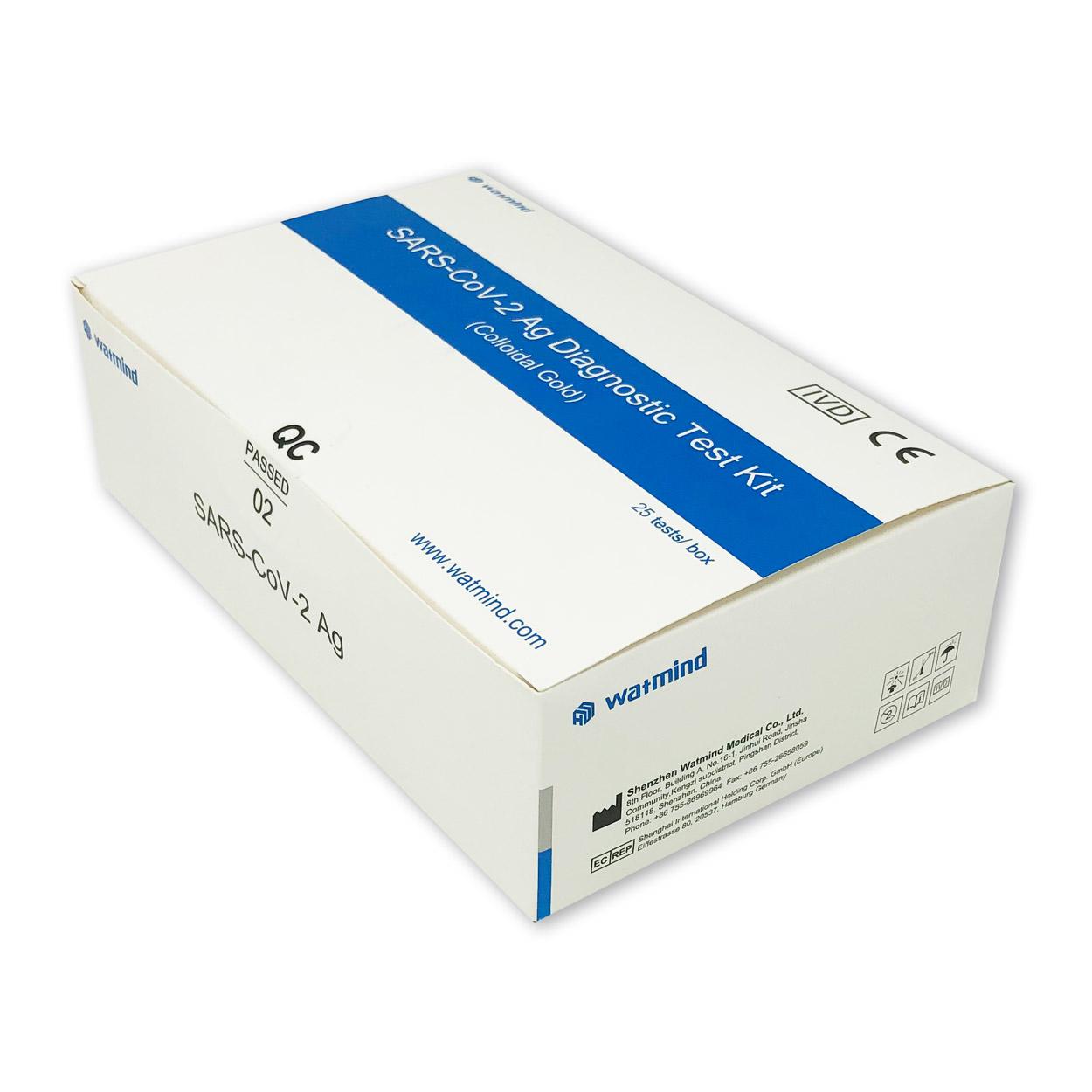 Watmind Rachen- u. Nasen Abstrich-Test für Laien (Colloidal Gold) - Corona Antigen-Schnelltest - Packung á 25 Stück