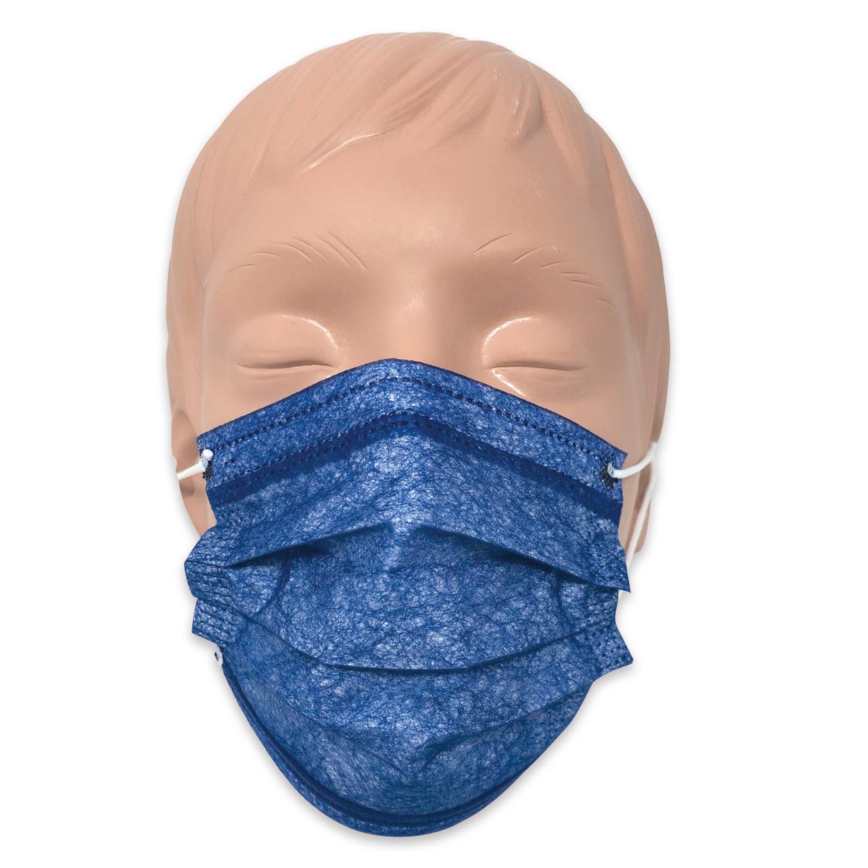 Mundschutz für Kinder in blau, Typ II, 3-lagig - Packung à 50 Stück