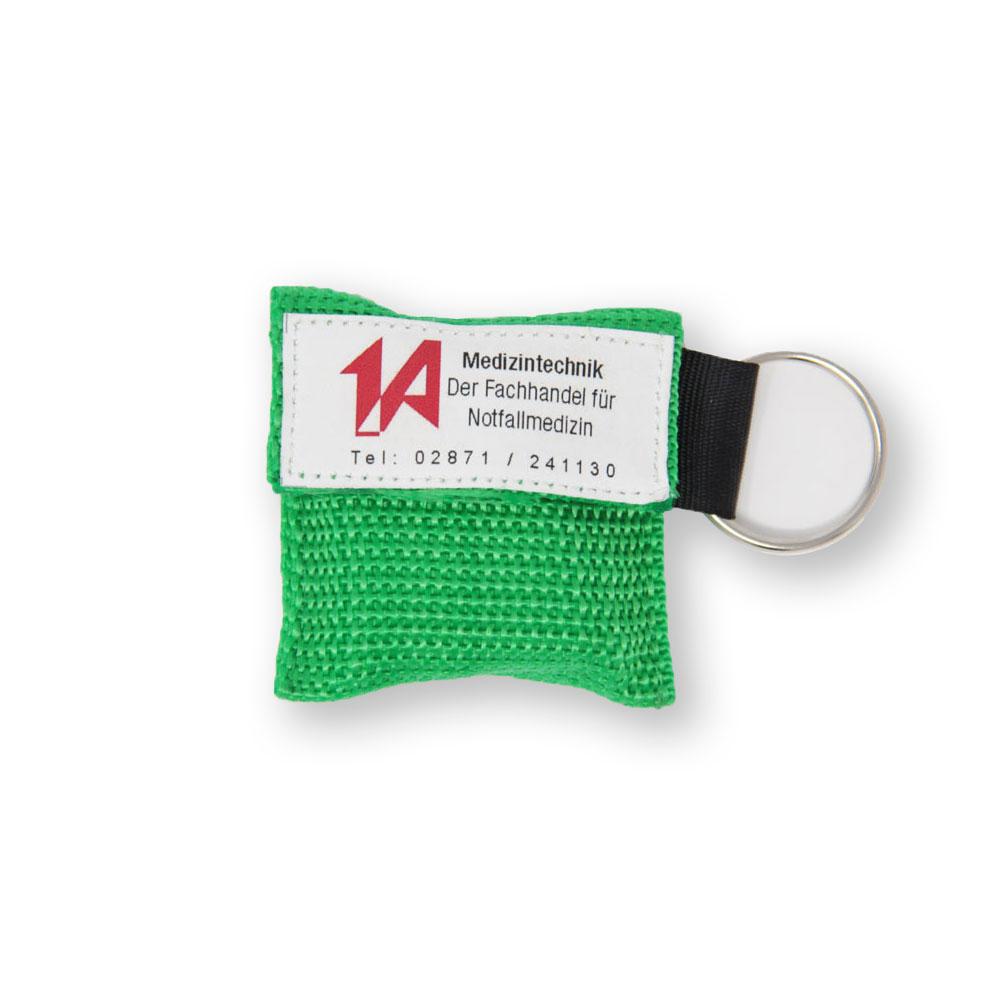Beatmungstuch im Schlüsselanhänger in grün - 1A-Logo